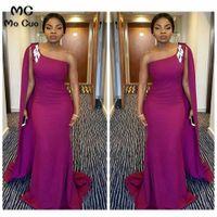 2021 une épaule africaine sirène demoiselle d'honneur robe longue élastique Satin Robes de la robe de soirée Robe de soirée Plus Taille Custom Sans Manches Modest