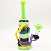 10 inch colored bong klein recycler dab rig heady glass wate...
