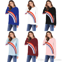 Women Autumn Bottoming Tops Hot Rainbow Printed Casual O- nec...