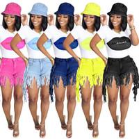 Yaz Kadın Kısa Püskül Jeans Yüksek Bel Kot Moda Tasarımcısı Vintage Şort Kot Kadın Skinny pantolonlar