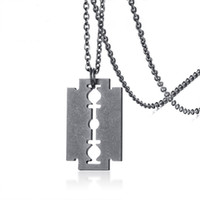 Gray Color Retro Men' s Blade Pendant Necklace Stainless...
