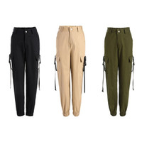 Women Army Cargo Pants High Waist Solid Color Button Zip Loo...