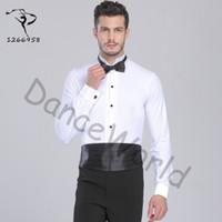 Seksi Balo Salonu Dans Balo Salonu Dans Adam Dans Üstleri Erkek bodysuit Gömlek Latin / tango / rumba Giyim Gömlek Üst Dq6032