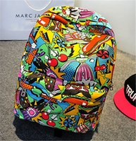 2018 new fashion and colorful graffiti backpack unisex Stude...