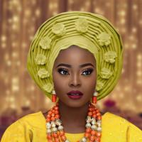 نيجيريا Auto Gele Africa Head Tie African Aso Oke Headtie Turtie Turban Nigerian Gele African Headtie Aso Ebi Big Brim