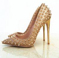 Größe 33 bis 46 rote untere hohe Absätze echtes Leder Spitzenschuhe Goldnieten spitzen Stilettos tradingbear