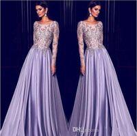 Elie Saab Lavender Dubai Kaftan Arabe Manches Longues Robes De Soirée Broderie Or 2019 Élégant Pure Neck Robe De Célébrité De Bal