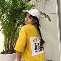 Été KPOP Harajuku Summer T-shirt coton à manches courtes poche Séoul Impression sur le haut de l'arrière BF Style Ulzzang Girls Tee Tee Tendance féminine
