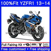Corpo de injeção para YAMAHA estoque quadro azul YZF 1000 YZF R 1 YZFR1 2013 2014 242HM.22 YZF-1000 YZF R1 YZF1000 YZF-R1 13 14 Kit de carenagem completo