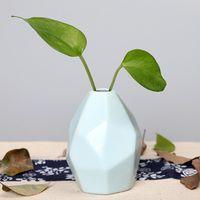 Vaso in ceramica a secco Fiore creativo decorazione semplice casa Ornamento europea geometrica a forma di bottiglia inciso qualità EEA1409-6 alta