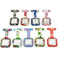 DHL libre 26 colores Cuadrados Impresiones de colores Reloj de bolsillo de silicona Relojes de enfermera Doctor Fob Reloj de cuarzo Relojes de regalo para niños DHL envío gratis