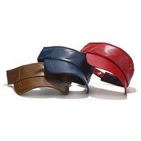 2020 nuevos amantes de cuero de diseño sin tapa gorra de béisbol unisex Cubiertas de color sólido WomenMen Snapback del sombrero de verano PU ajustable cofia