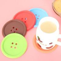 2000 шт. / лот творческий круглый мягкий резиновый Кубок коврик прекрасный кнопка форма подставки бытовая посуда Placemat 6 цветов