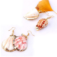 Boho Big Natural Conch Shell Drop Earrings Statement Natural...