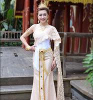 Azjatycka Dai Princess Thai Dress zawiera szalik tradycyjny styl fotograficzny Studio strój ślubu rozpryskiwania Tajlandia Queen Festival Dress