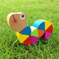 الدودة الملونة خشبي فن التعليم الألغاز التعليم الأطفال التعليمية اللعب تنمية الطفل أصابع لعبة للأطفال هدية K0339