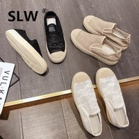 2019 Scarpe da donna Solid Slip-on Zoccoli Piattaforma Shoess Shallow Mouth Knitting Flats Punta rotonda Abito Infermiera Donna Moda On