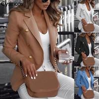 Frauenanzüge Blazer Cysincos Frauen 2021 Mode Frühling Herbst Casual Jacke Weibliche Büro Dame Slim Anzug Button Business gekerbt Blazer