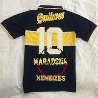 قمم 1997/98 الرجعية Boca Juniors Soccer Jerseys Maradona 10 Riquelme Riquelme Cardona Jersey de Thailand Football Shirt 1994 Medel Futbol Shirts الكلاسيكية 1995/96 الحجم S-XXL