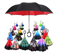 85Colors Reverse Paraguas plegable de doble capa C Handle Paraguas Unisex invertido Mango largo a prueba de viento Rain Car Umbrellas Gifts 6889