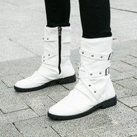 Idopy Мужчины Boots Pu Leather Man Flat обувь Mid теленок шипованных Rivet Мужской Punk Motorcycle Boots обувь