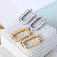 pendiente del aro de la calidad de lujo con diamantes brillantes en oro y plata plateado para las mujeres caída de la boda pendiente de la joyería el envío libre PS6718