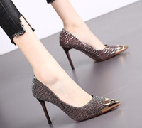 with box Luxury designer women Sequined pumps Slip-On Sexy lady Pointed Toes Stiletto Dress shoes Shallow mouth Party Prom shoes