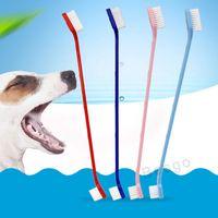 Artículos para mascotas perro dientes cepillo de dientes suave del gato cachorro y estética dental del cepillo de dientes Diente de lavado Herramientas de limpieza del cepillo de salud de los perros DBC BH2856