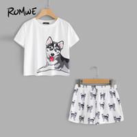 ROMWE Dog Print Tee Shorts Pijama Conjunto Multicolor Animal Print Cuello Redondo Manga Corta Nuevo Diseño Mujeres Pijama Set Y19042803