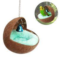 Küçük Hayvan Evi Hamster Kobay Sincap Hollandalı Domuz Sleeping Nest Yuvarlak Hindistancevizi Kabuk Papağan Kuş Yuvaları In Stock