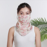 Womens Scarf Face Mask Floral Printed Chiffon Sunshade Mouth...