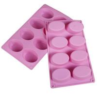 8-cavidade forma oval molde sabão molde de silicone bandeja de chocolate caseiro fazendo diy SN1885