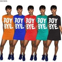 Frauen Kleid Boy Bye Brief Drucken Kurzarm Oansatz über Knie T-Shirt Kleid Mode Sport Side T-Stück Mini Kleider