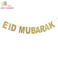 1 set Banners ouro EID MUBARAK decoração de casamento festa de Pennant praia do verão do partido decoração de suspensão favorecem
