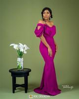 2019 Sexy Mermaid dama Off Vestidos Vintage Ombro Bainha Convidado de Casamento Vestido barato Plus Size Prom Evening Maid Of Honor Vestidos