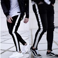 Mens Black Biker Designer Jeans Striped Zipper Slim Fit Hiph...