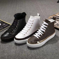مصمم الأحذية أزياء المرأة ضمادة أحذية عادية 100٪ حذاء امرأة جلد حقيقي التمهيد شقة الشتاء جلد الثلج الدافئ الأحذية الفاخرة US5-10 41