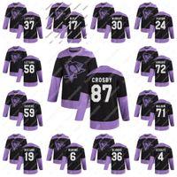Gençlik 2020 Kavgalar Kanser Pratik Siyah Jersey Pittsburgh Penguins Sidney Crosby Kris Letang Malkin Hornqvist Dumoulin Murray Lafferty
