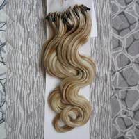 Micro extensões de cabelo anel 100G onda do corpo cabelo virgem da Malásia 1g / Stand micro anel de laço extensões de cabelo