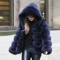 2019 جديد أزياء مقنعين كامل الأكمام الشتاء معطف الفرو البحرية الأزرق عارضة المرأة فو الفراء سميكة الدافئة سترة fourrure فام