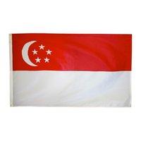 Freies Verschiffen auf Lager 3x5ft 90x150cm Hang Nationalen Lion City SG SGP Republik Singapur-Flagge Banner für Feier-Dekoration