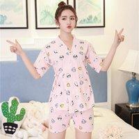Mulheres Sleepwear Foply 2021 Mulheres Pijamas Definidos Desenhos Animados Frutas Floral Impressão Quimono Menina Casual Manga Curta Camisa Shorts Pajama
