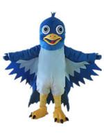 2019 새로운 푸른 큰 입 새의 마스코트 의상 EVA 봉제 성인 크기의 만화 의류 콘도르 영웅 동물의 전설 할로윈 마스코트
