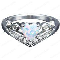 Opal Diamante Coração Anel Anéis amor de luxo designer de jóias mulheres anéis de casamento anéis de noivado presente da moda jewerly