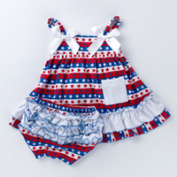 4th July 2PCS Newborn Baby Girls Dress with Ruffles Ribbon B...