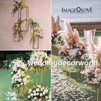 Yeni stil büyük ve uzun düğün altın zihinsel zemin standı düğün şamdan merkezinde, mumluk için düğün masa decor482