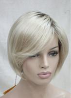 شحن مجاني + + جودة عالية الشعر الاصطناعية أومبير شقراء مع الجذر الداكن قصير مستقيم شعر مستعار بوب