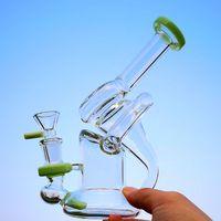 Grüne Sidecar Glaspfeife Beaker Bongs Recycler Öl Dab Rigs Wasserrohre Mit Schüssel Heady Farbe Einzigartige Glas Bongs XL-318