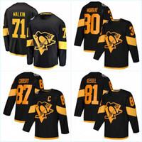 87 Sidney Crosby Men 2019 Estádio Série Jerseys 71 Evgeni Malkin 1 Casey DeSmith 30 Matt Murray 58 Kris Letang Camisolas de Hóquei