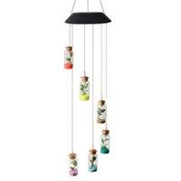 LED Solar Wind Chimes chiaro che desidera la bottiglia forma di stella Hanging luce per la casa del giardino di decorazione del partito di nozze Starfish Wind Chime Luce